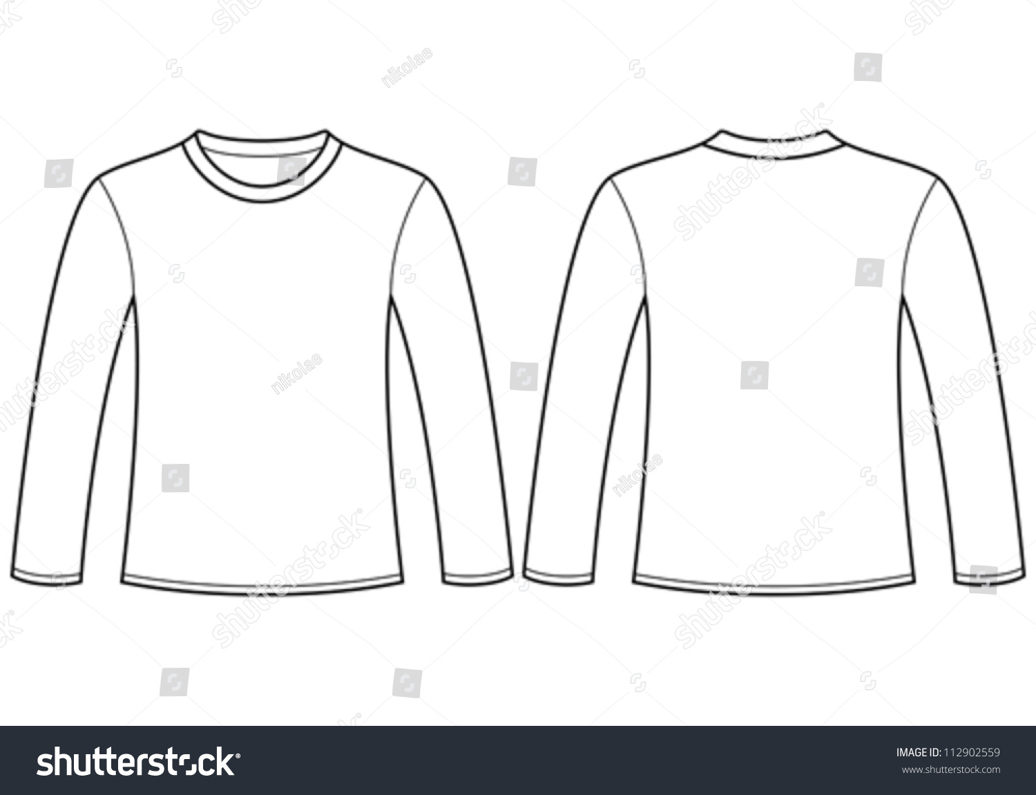 Longsleeved Tshirt Template Stock Vector 112902559