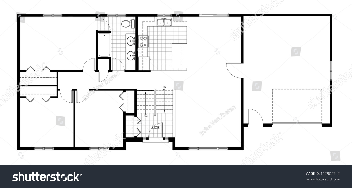 Split level house floor plan stock illustration 112905742 for Split entry floor plans