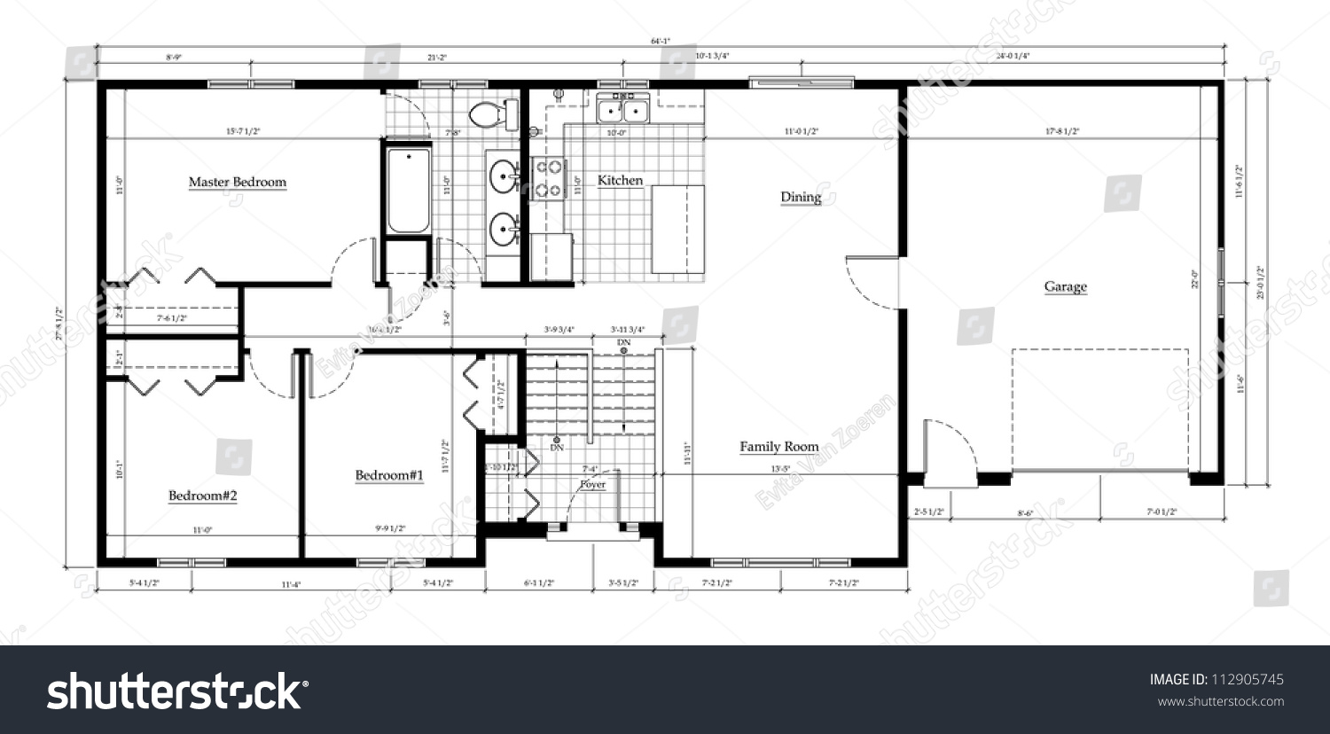 Split Level House Floor Plan With Room Names And Dimensions Stock    Split Level House Floor Plan   Room Names and Dimensions Preview  Save to a lightbox