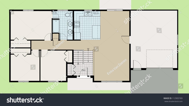 Split level house floor plan colored with landscape stock for Floor plan landscape