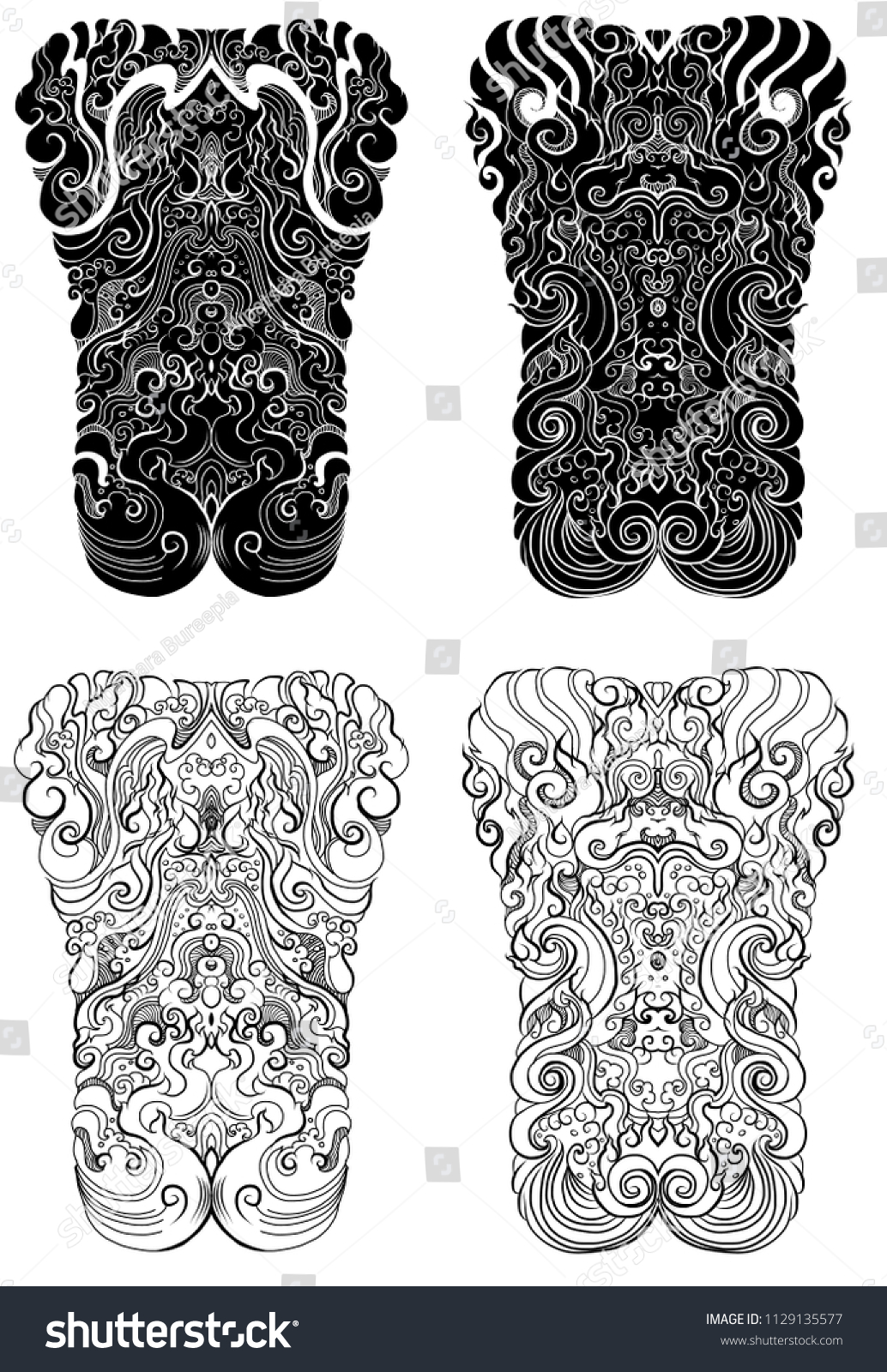 4f91c11761ddb Line Thai tattoo design.traditional thailand style,cloud and fire tattoo.Line  Thai water wave design for tattoo.Japanese wave for tattoo background.