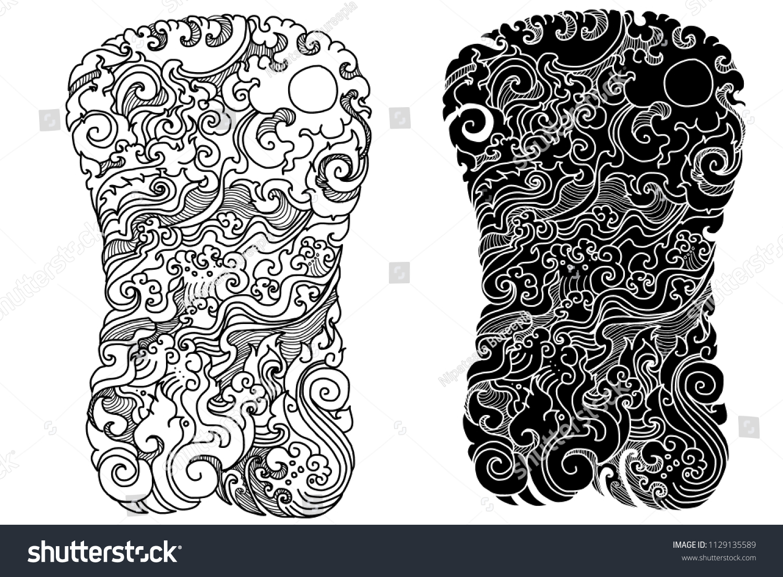 8648334bd3f4b Line Thai tattoo design.traditional thailand style,cloud and fire tattoo.Line  Thai.