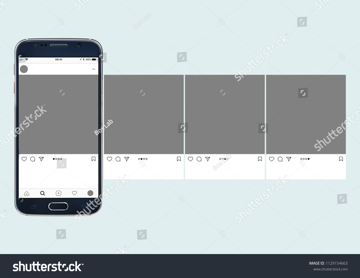 carousel post on social media mockup with cellphone and white background. #1129154663