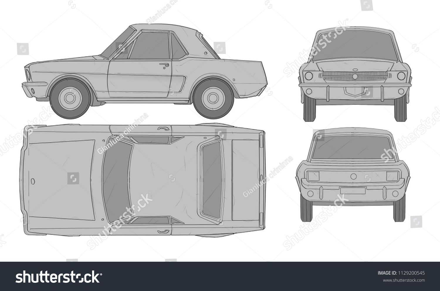 Cartoon Car Blueprint For 3d Modeling