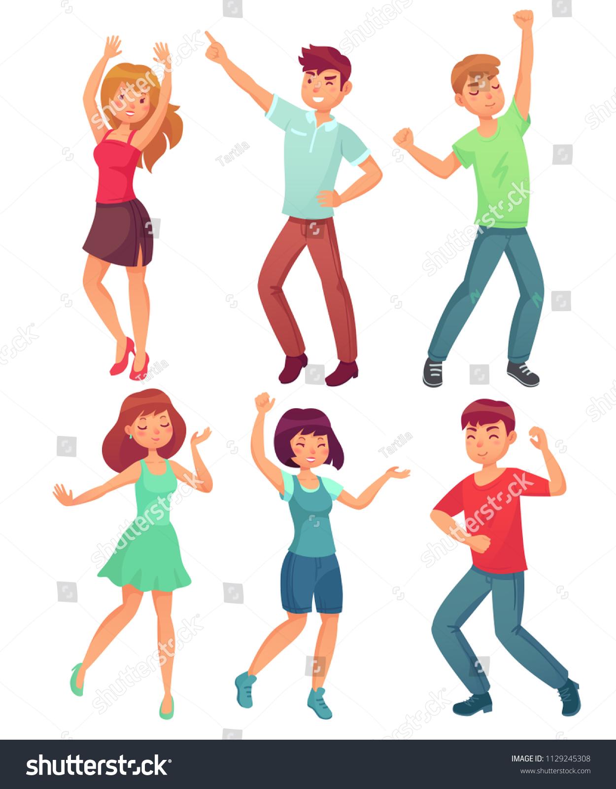 Cartoon Dancing People Happy Dance Excited Stock Vector Royalty Free 1129245308