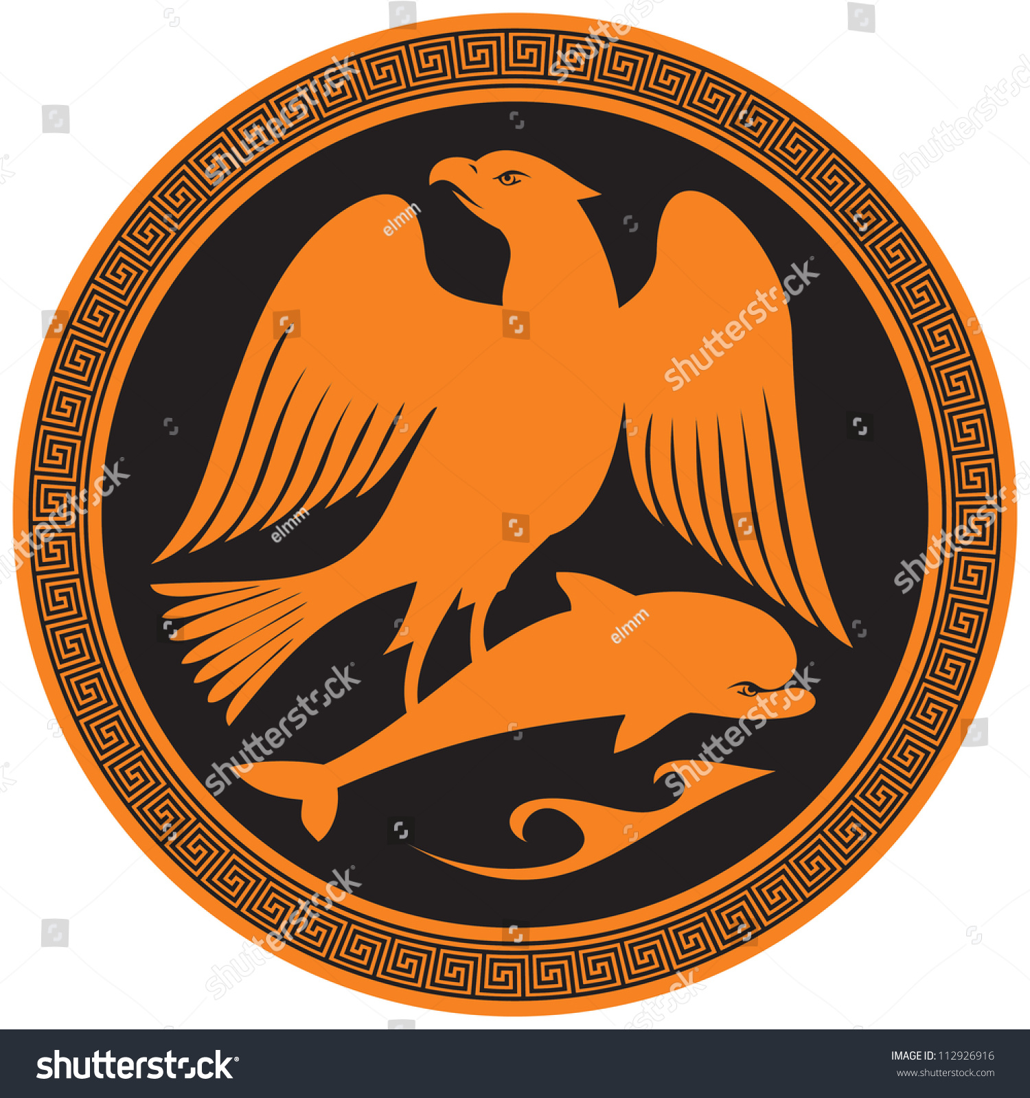 Eagle On Dolphin Ancient Greek Symbol Stock Vector ...