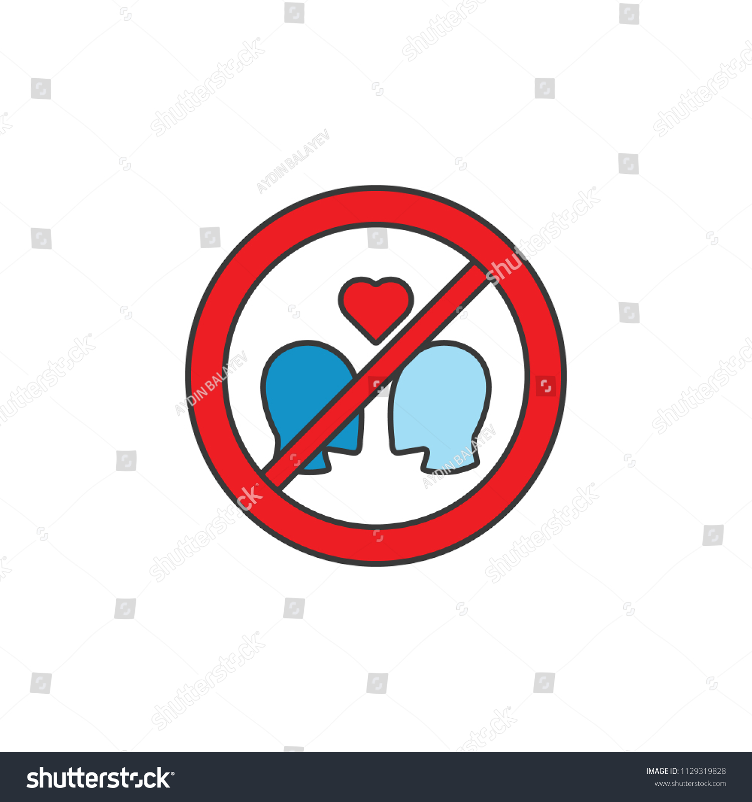 Ban Love Heart Filled Outline Symbol Stock Vector Royalty Free
