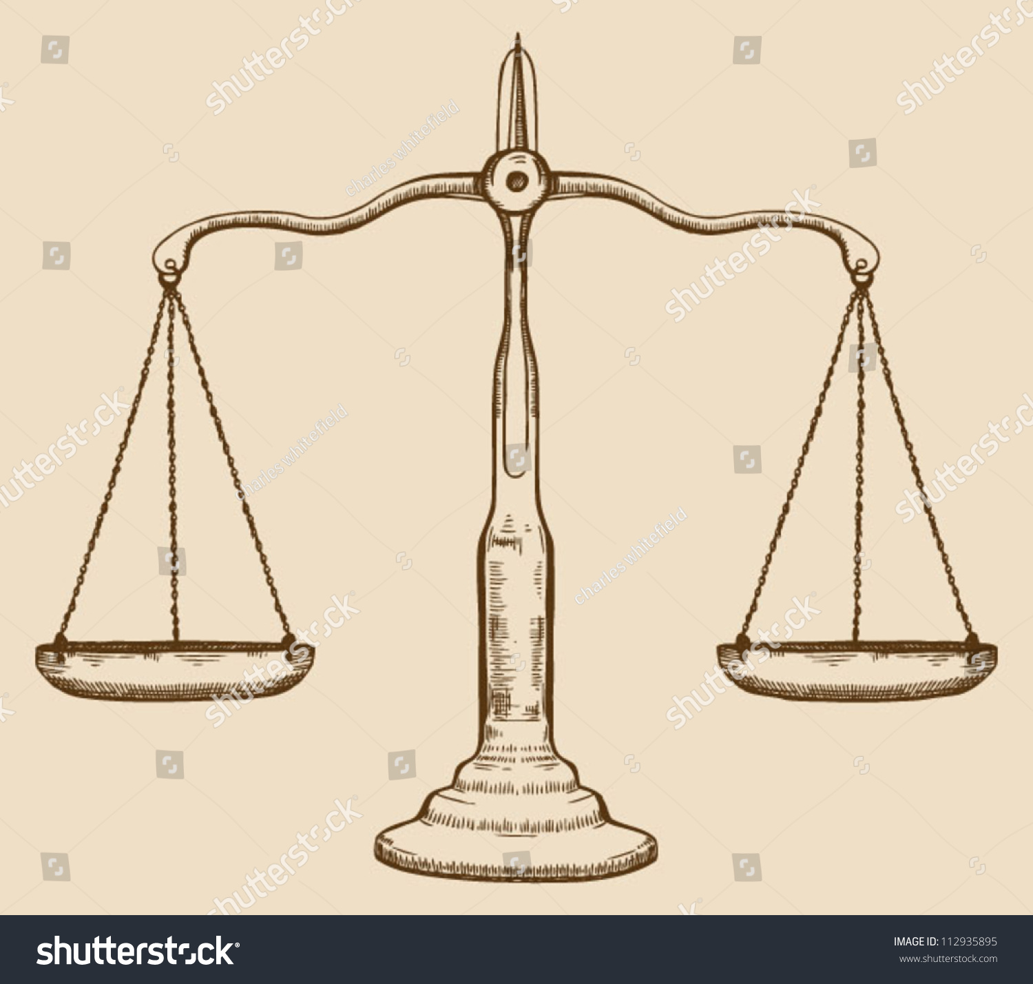 Symbol Of Justice Draw Scale Old Vintage Stock Vector