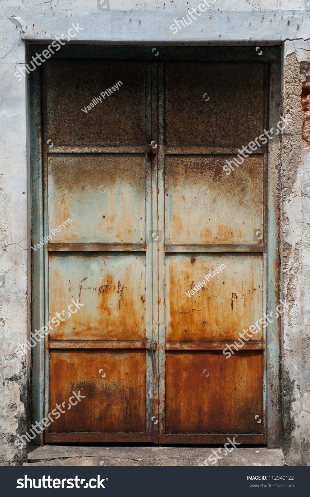 Old Metal Door With Rust In Asia Stock Photo 112940122