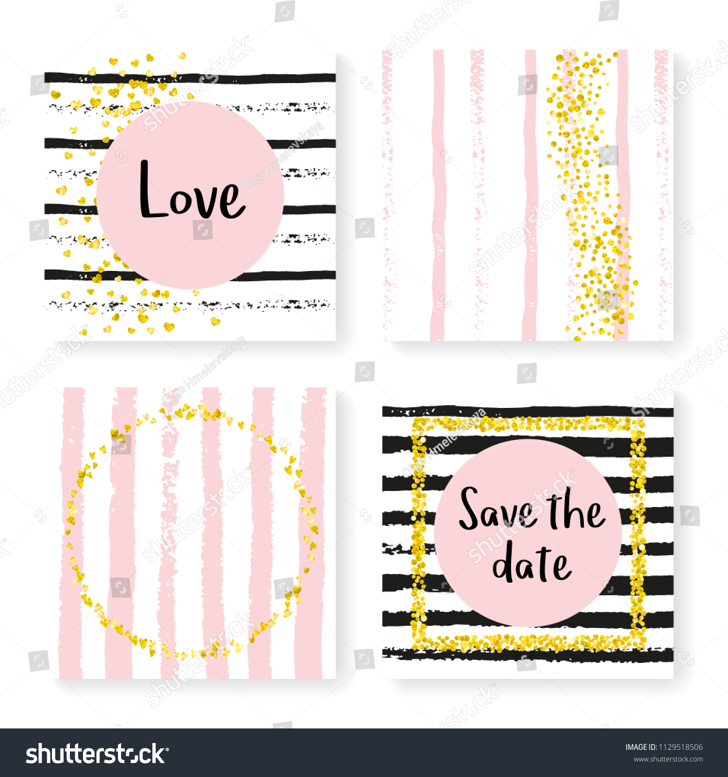 Wedding invitation set with glitter confetti and stripes. Gold hearts and  dots on black and pink background. Template with wedding invitation set for  party 5b90d3f66928