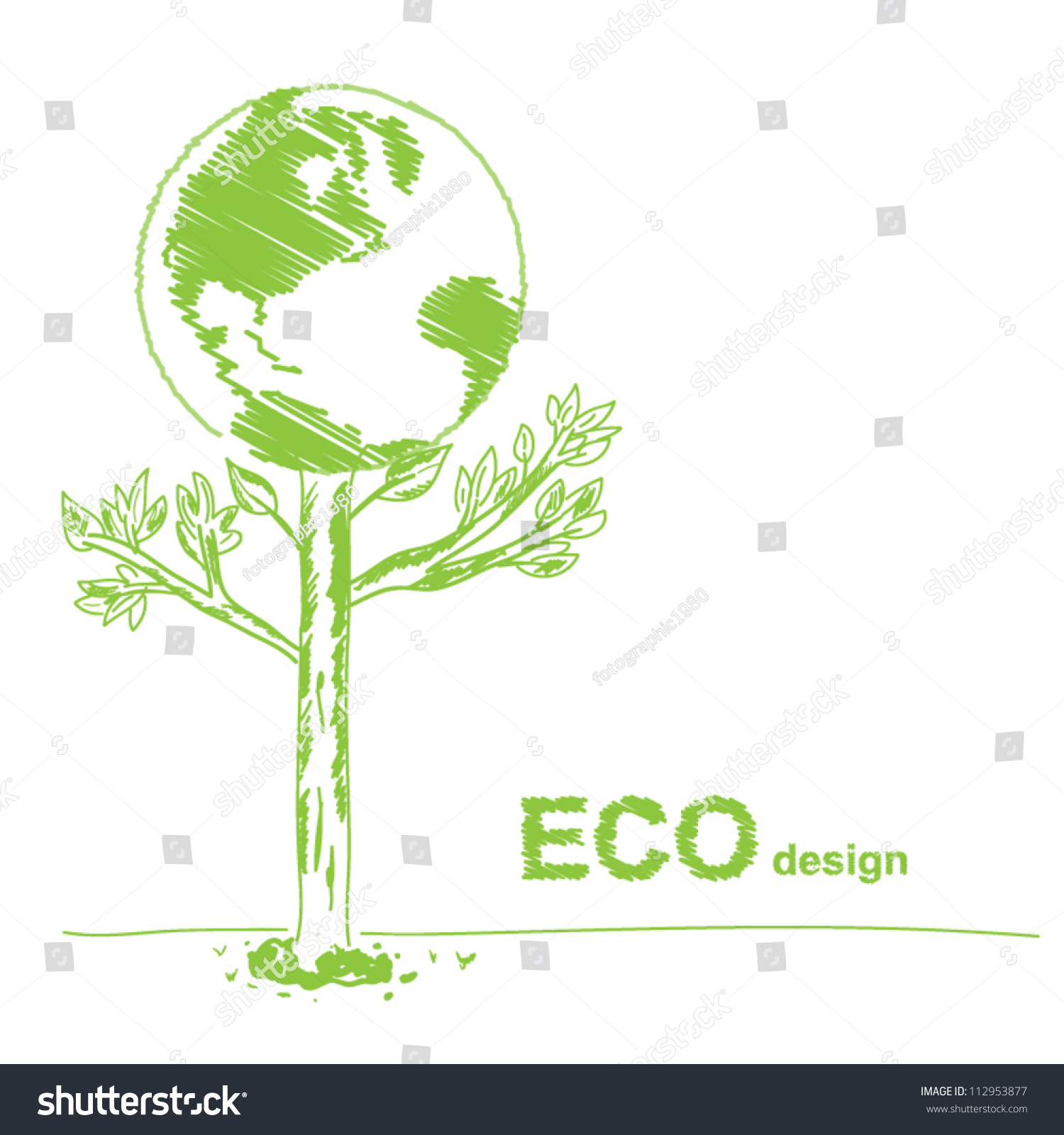 vector handwriting globe sketch eco design stock vector 112953877 shutterstock. Black Bedroom Furniture Sets. Home Design Ideas