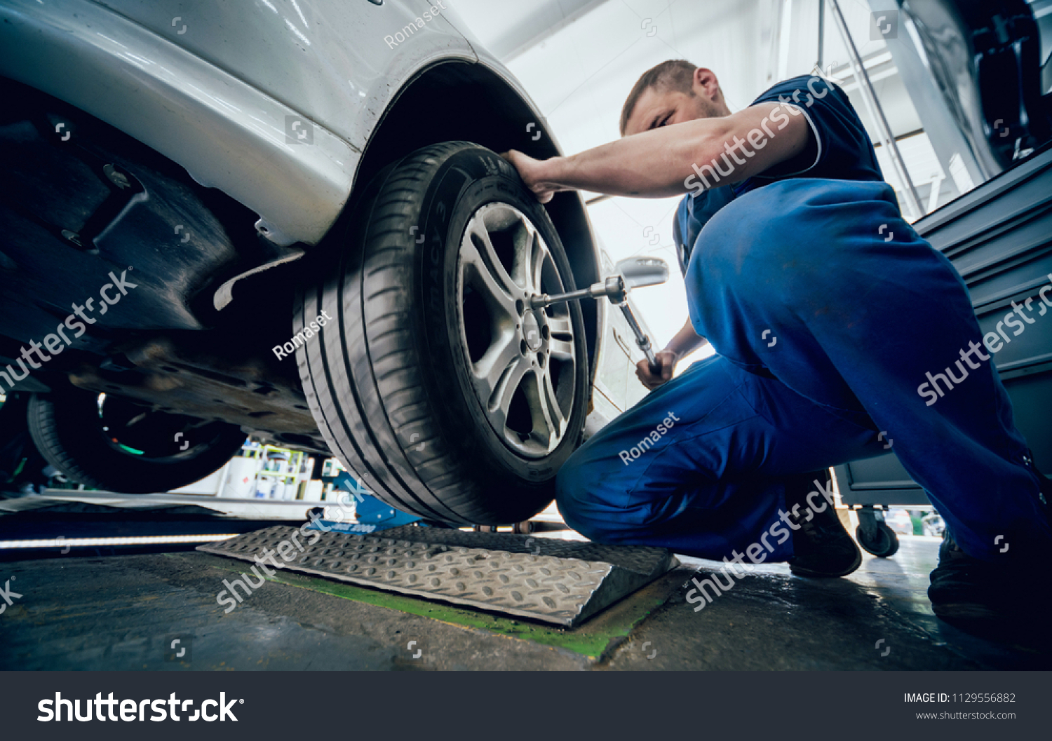 Automotive Suspension Test Brake Rolls Stock Photo Edit Now Auto Repair Mechanic Engine Brakes Service And In A Background