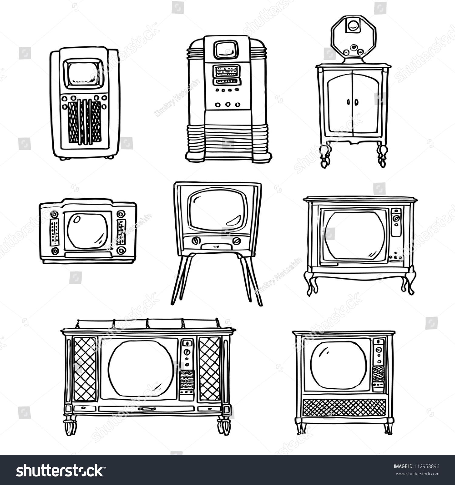 Vintage Tv Set Hand Drawn Illustration Stock Vector