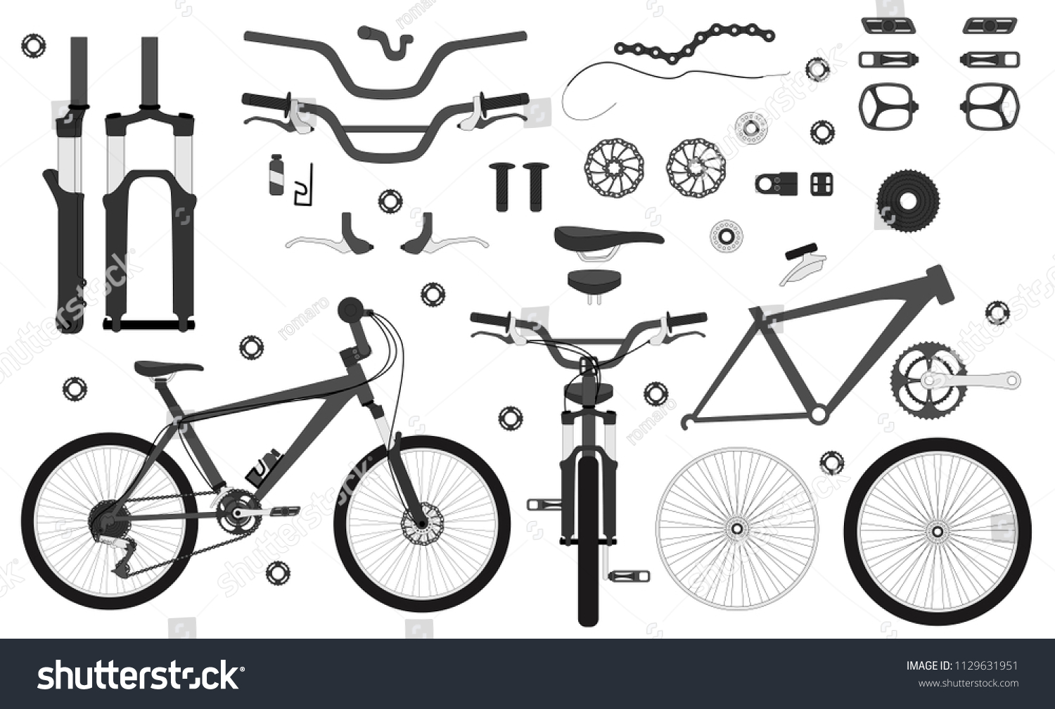 Road Bicycle Parts Accessories Silhouette Set Stock Vector Royalty