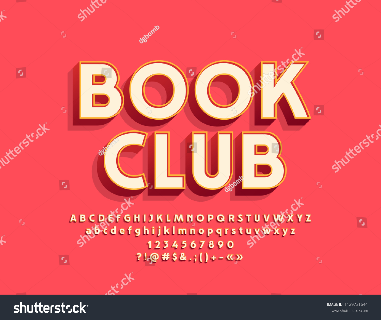 Vector stylish Emblem Book Club. Cool Font. Bright 3D Alphabet Letters, Numbers and Symbols #1129731644