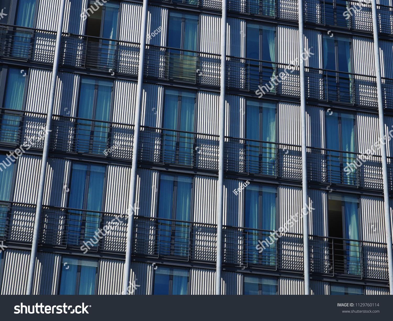 Corrugated building facade