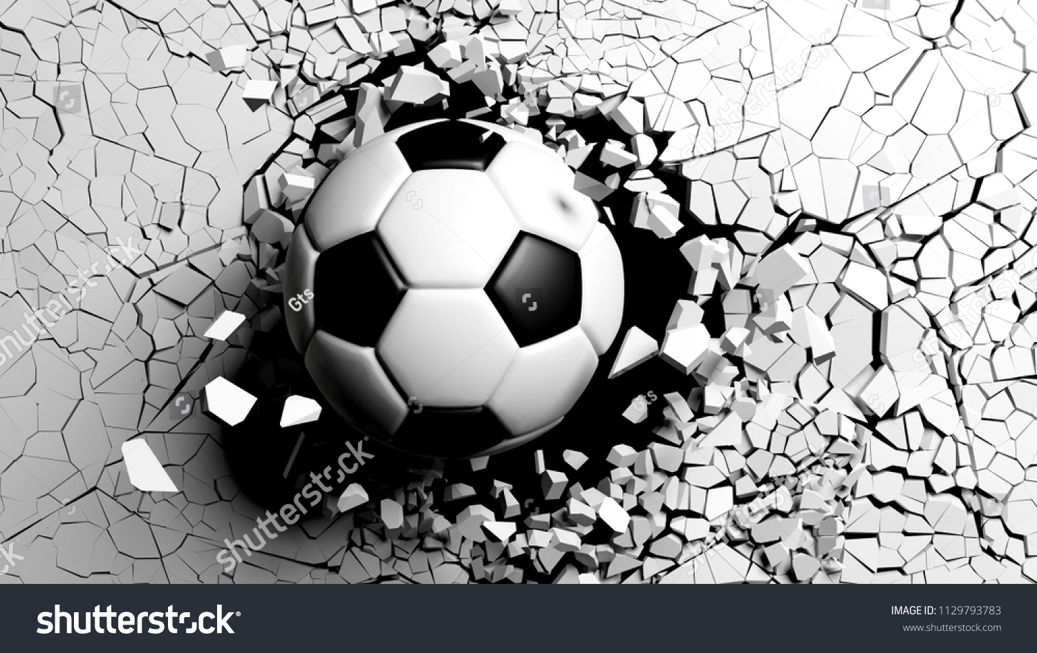 Soccer ball breaking with great force wallpaper mural