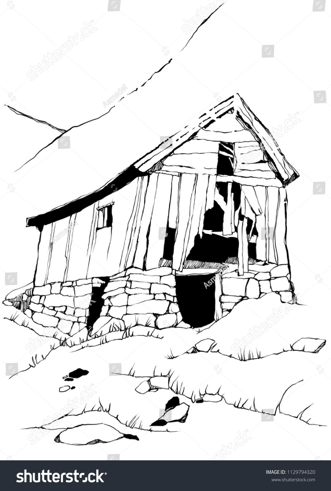 Maison En Ruine Dessin image vectorielle de stock de maison de campagne abandonnée
