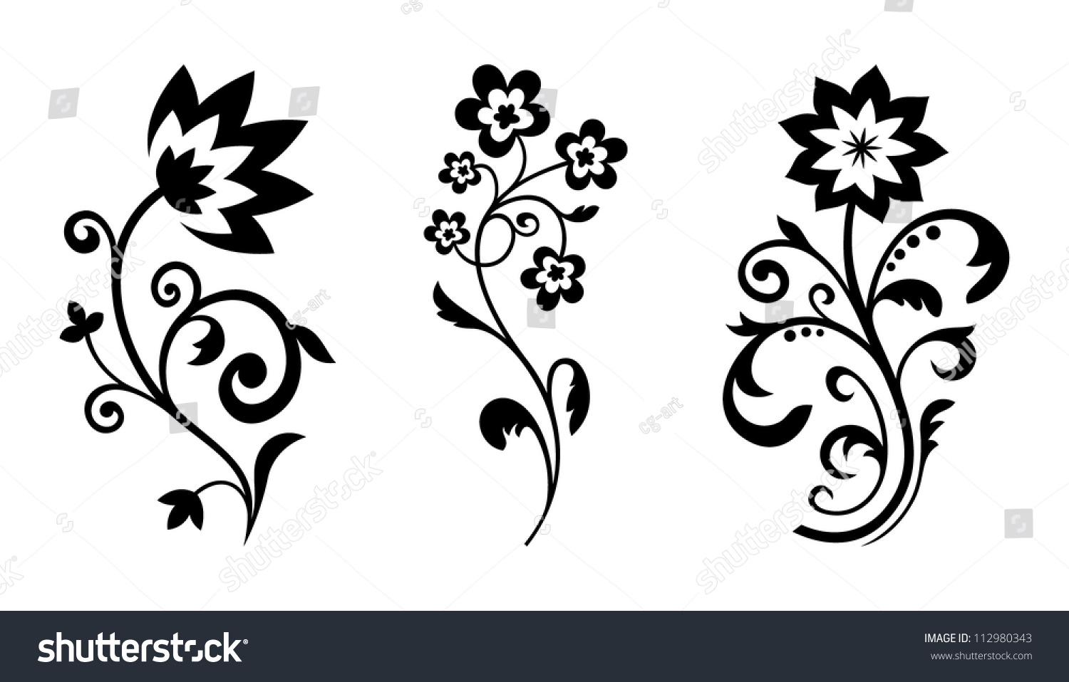 Silhouettes Abstract Vintage Flowers Vector Floral Stock Vector S