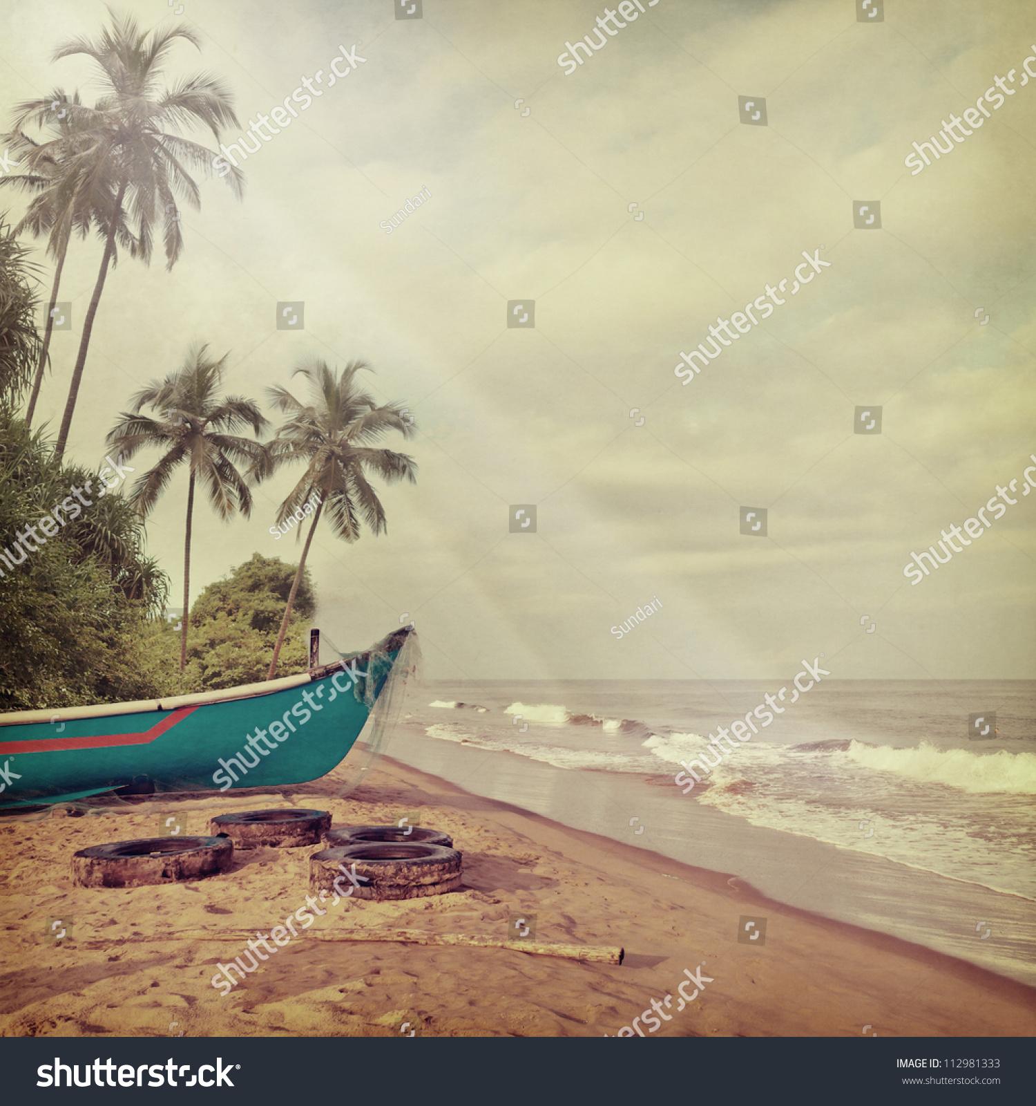 Vintage Beach Background Stock Photo 112981333