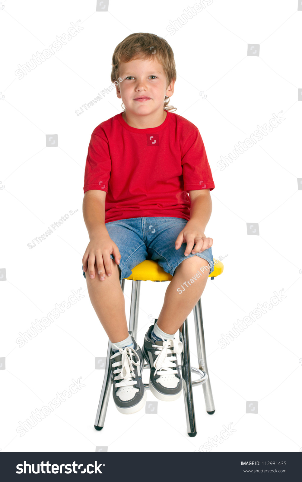 Boy Sitting On Stool Isolated On Stock Photo 112981435