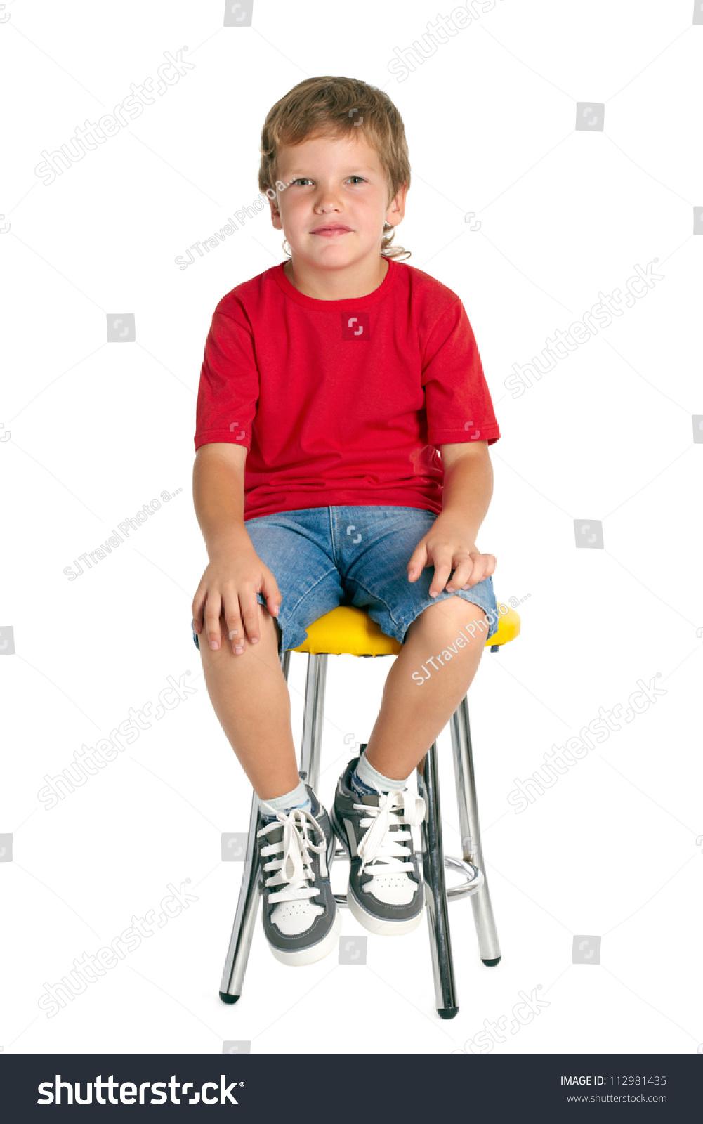 Boy Sitting On Stool Isolated On Stock Photo 112981435
