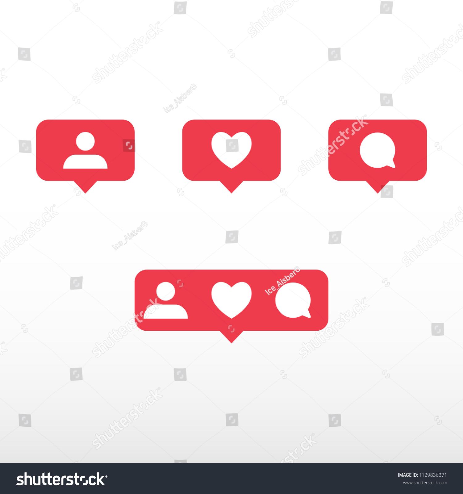 Symbols Social Network Notification Icons Social Stock Vector