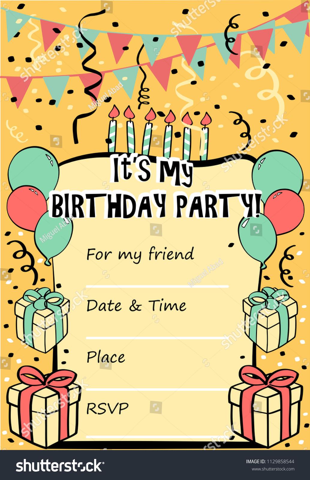 Kids Birthday Party Invitation Card Sentence Stock Vector