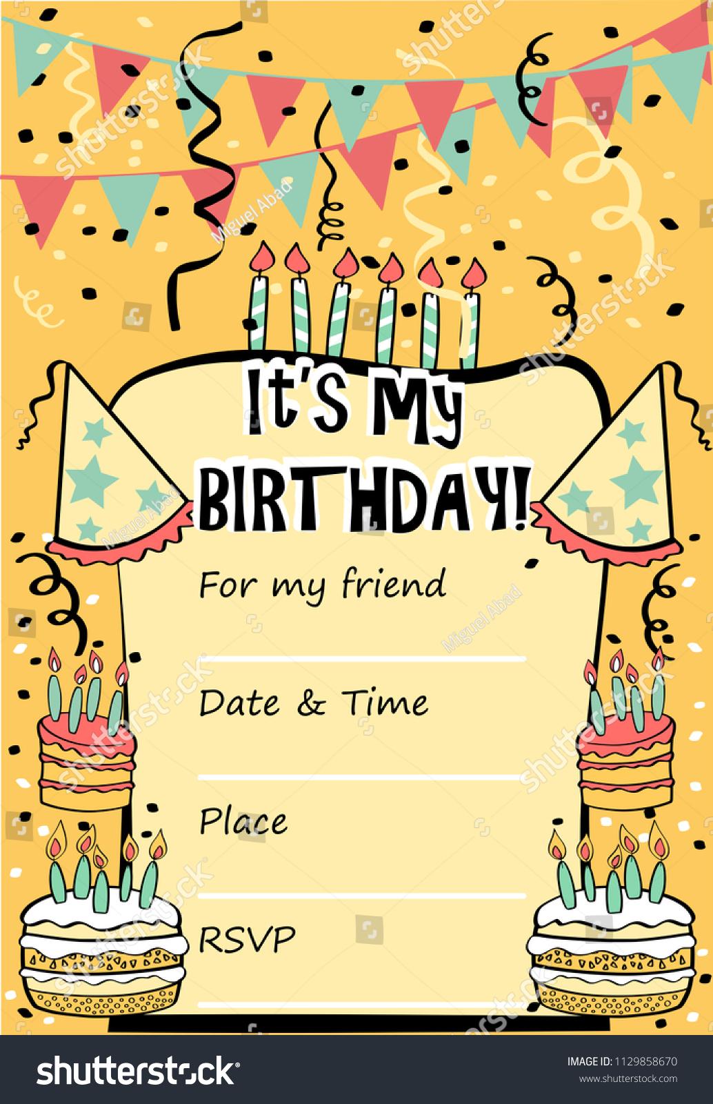 Kids Birthday Party Invitation Card Sentence Vector De Stock Libre