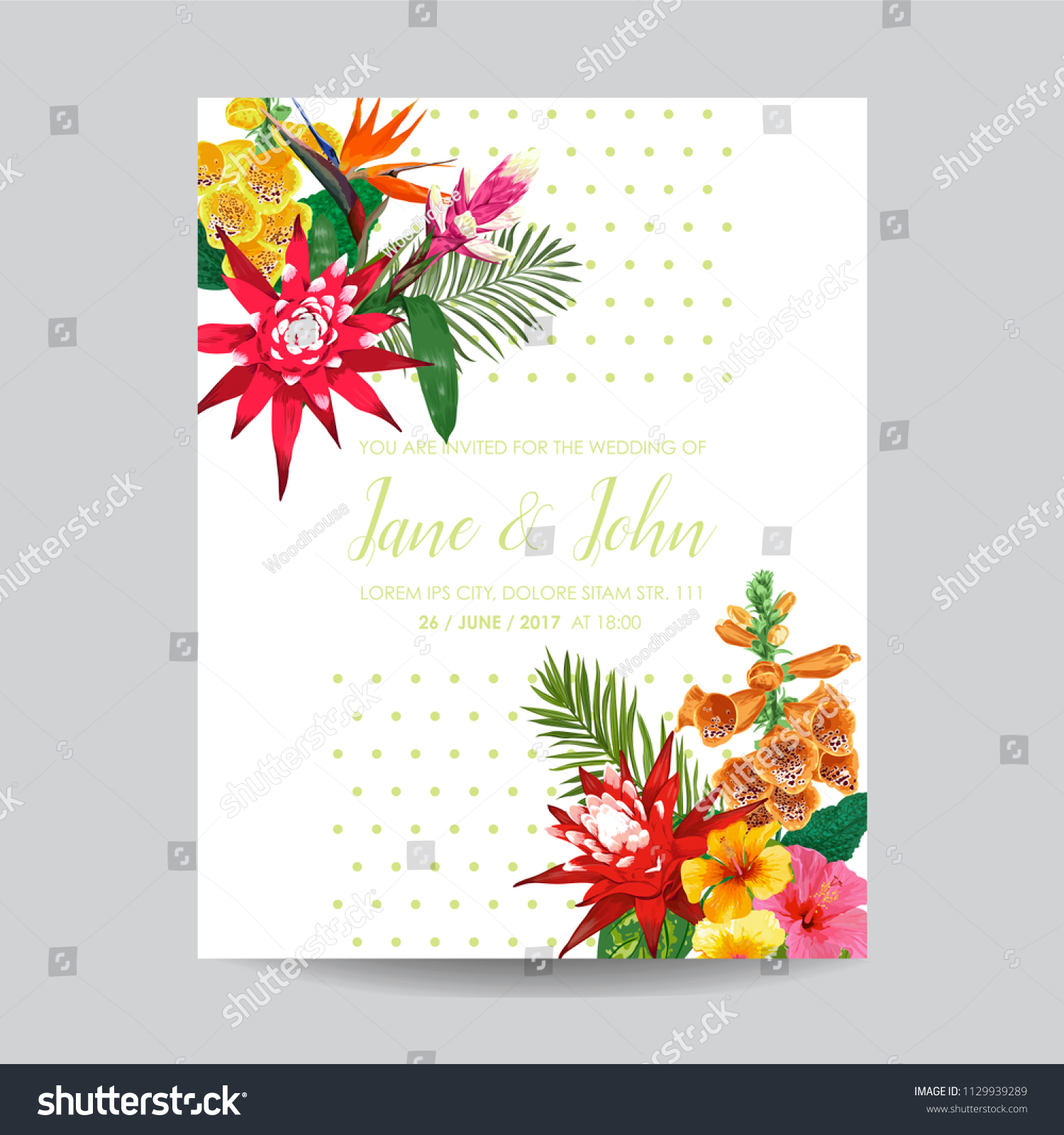 Wedding Invitation Template Tiger Lily Flowers Stock Vector ...