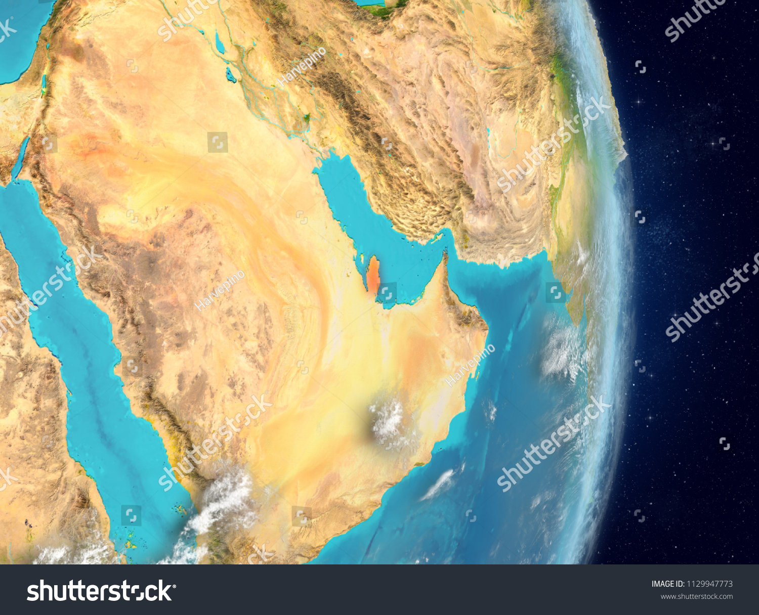 Space View Qatar Highlighted Red On Stock Illustration 1129947773