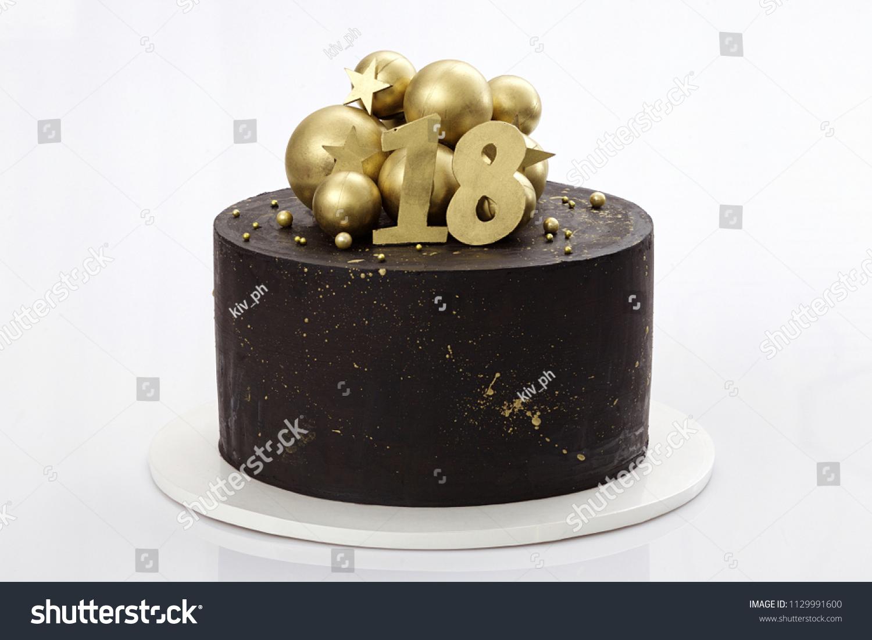 Wondrous Black Chocolate Cake Decorated Golden Balls Stock Photo Edit Now Birthday Cards Printable Trancafe Filternl
