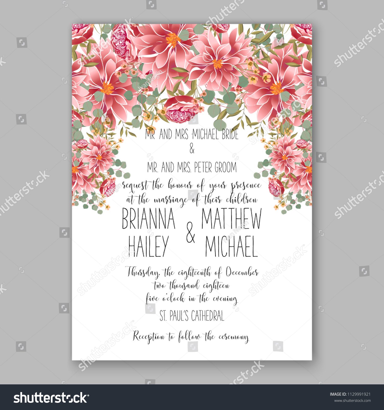 red dahlia daisy floral wedding invitation stock vector royalty