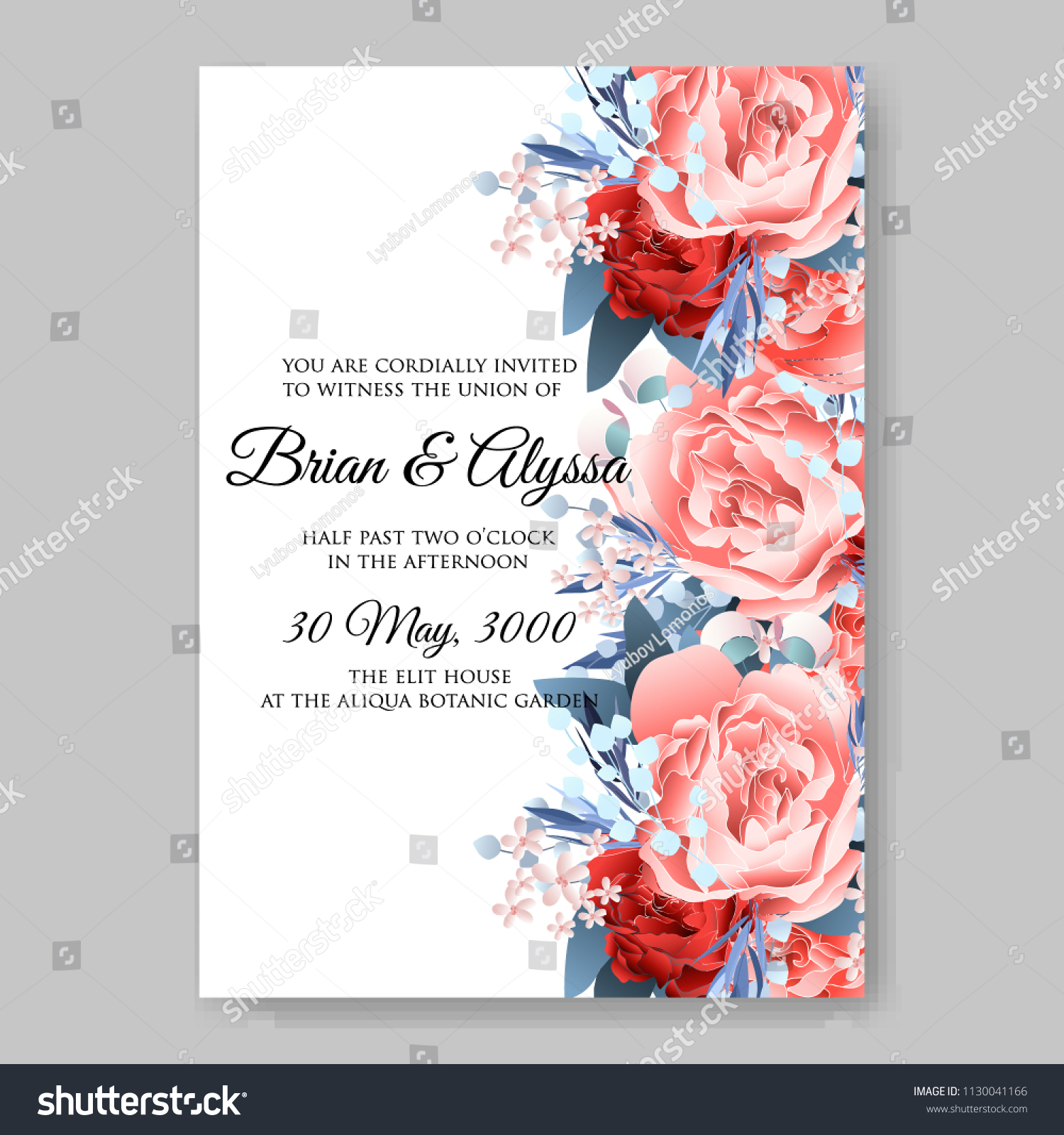 Watercolor Coral Pink Red Peony Wedding Stock Vector 1130041166 ...