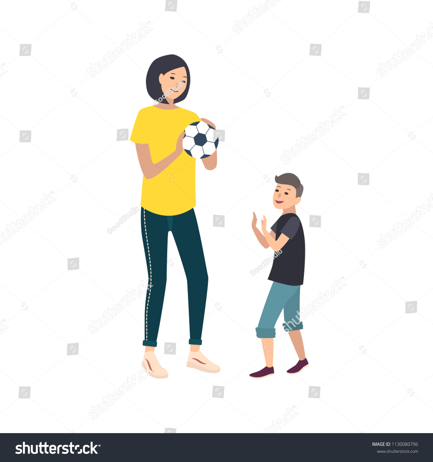 Mom Son Playing Football Soccer Mother Stock Vector Royalty Free