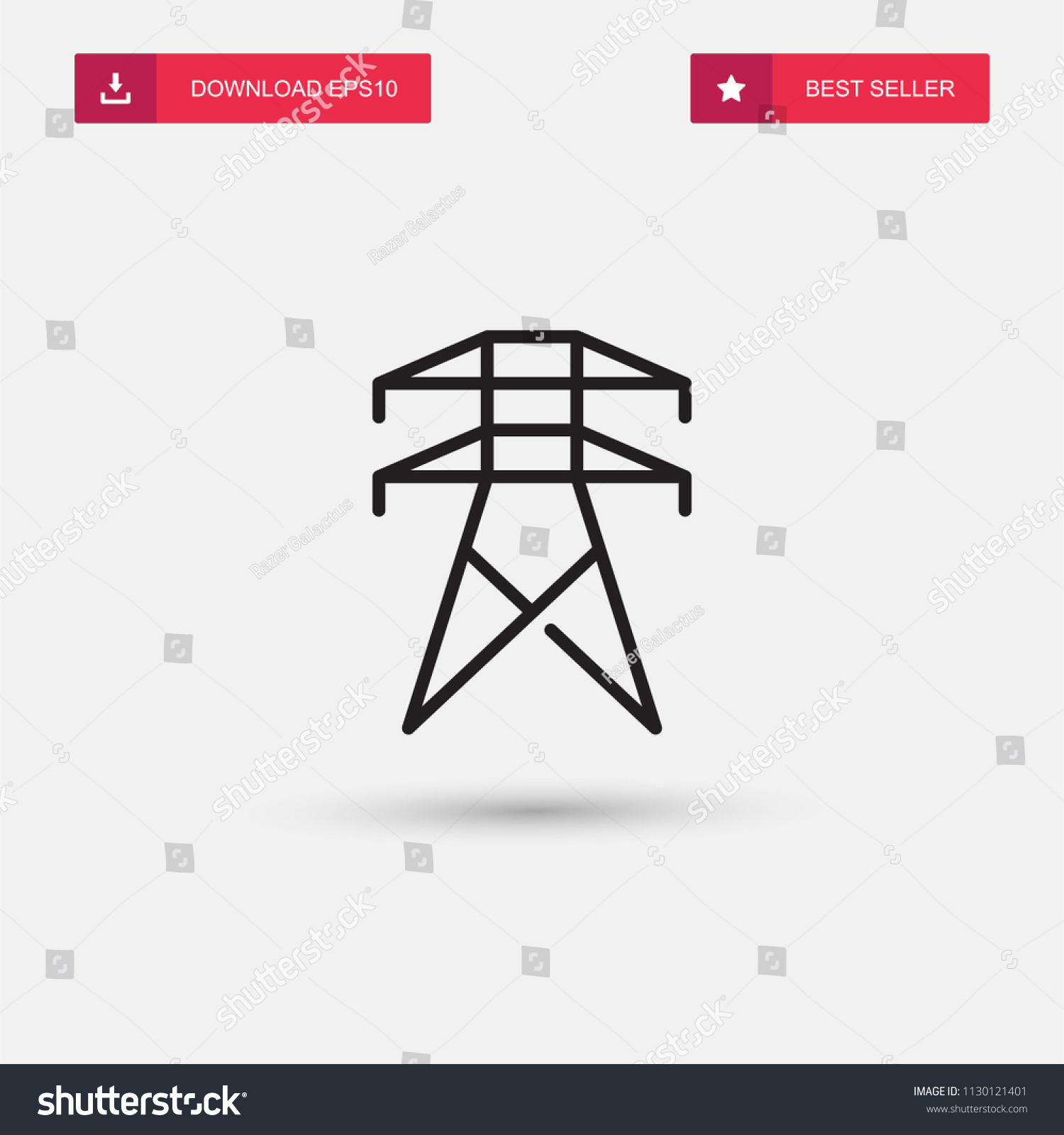 Outline Electrical Tower Icon Isolated On Stock Vector Royalty Free Drawing Symbols App Grey Background Modern Simple Flat Symbol For Web Site