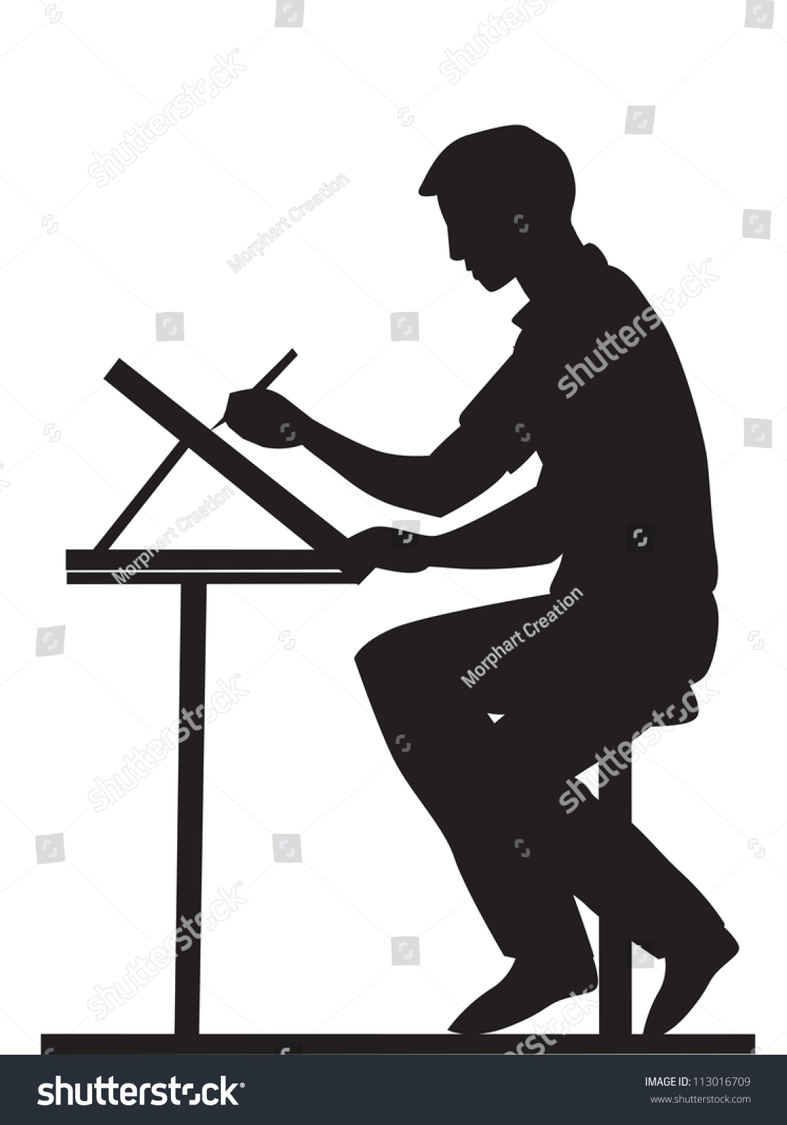 Artist Side View Using Pencil Drawing Stock Vector