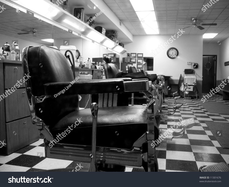 Old School Barber Shop Checkerboard Floor Stock Photo