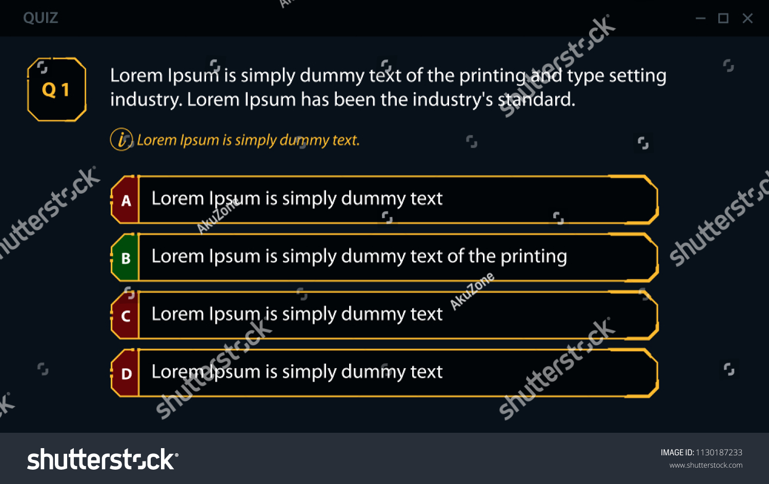 Assessment Template Quiz Layout Multiple Choice Stock Vector