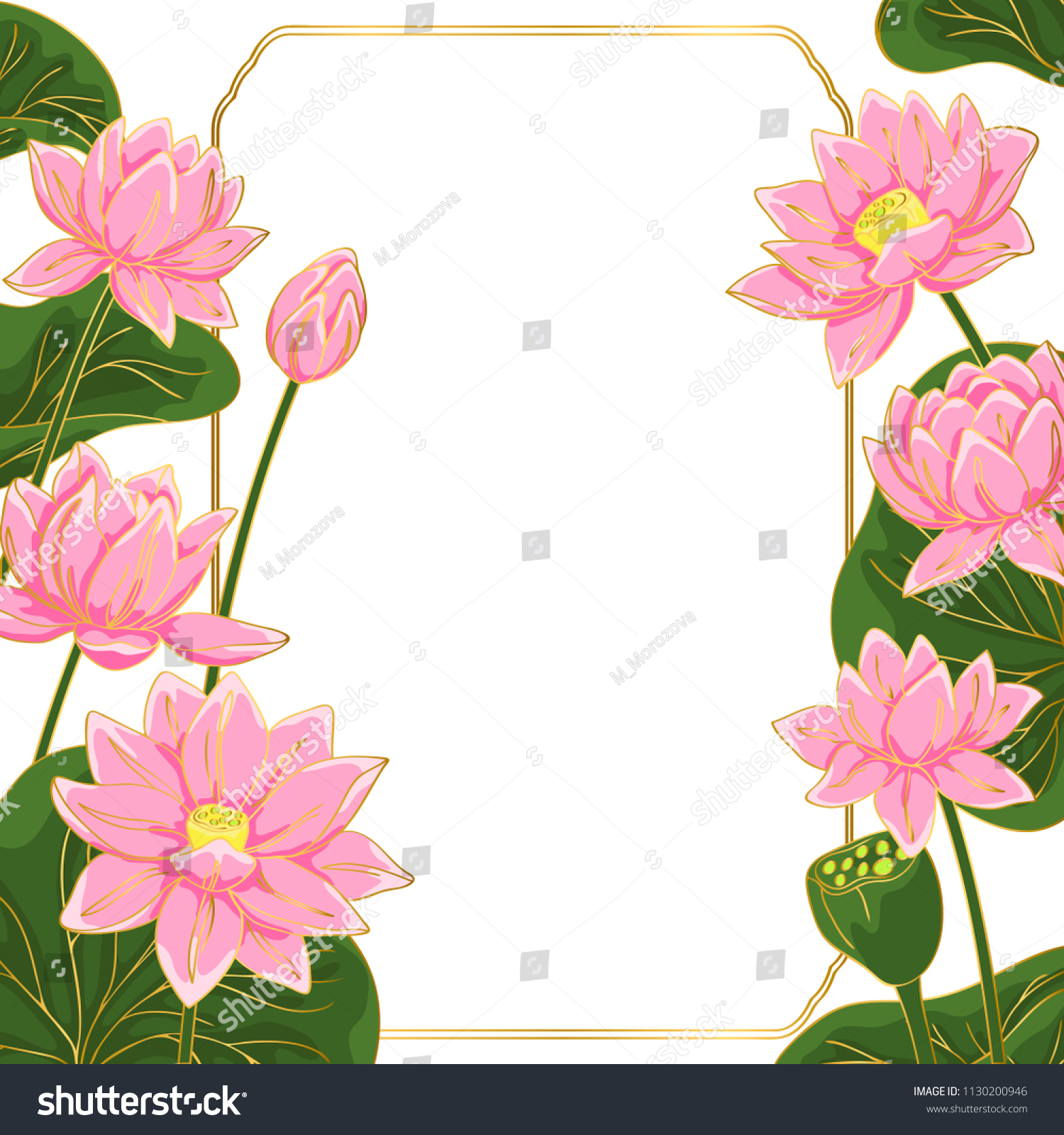 Vector contour color pink chinese lotus stock vector royalty free vector contour color pink chinese lotus flowers leaf asian symbol hand drawn et card square border izmirmasajfo