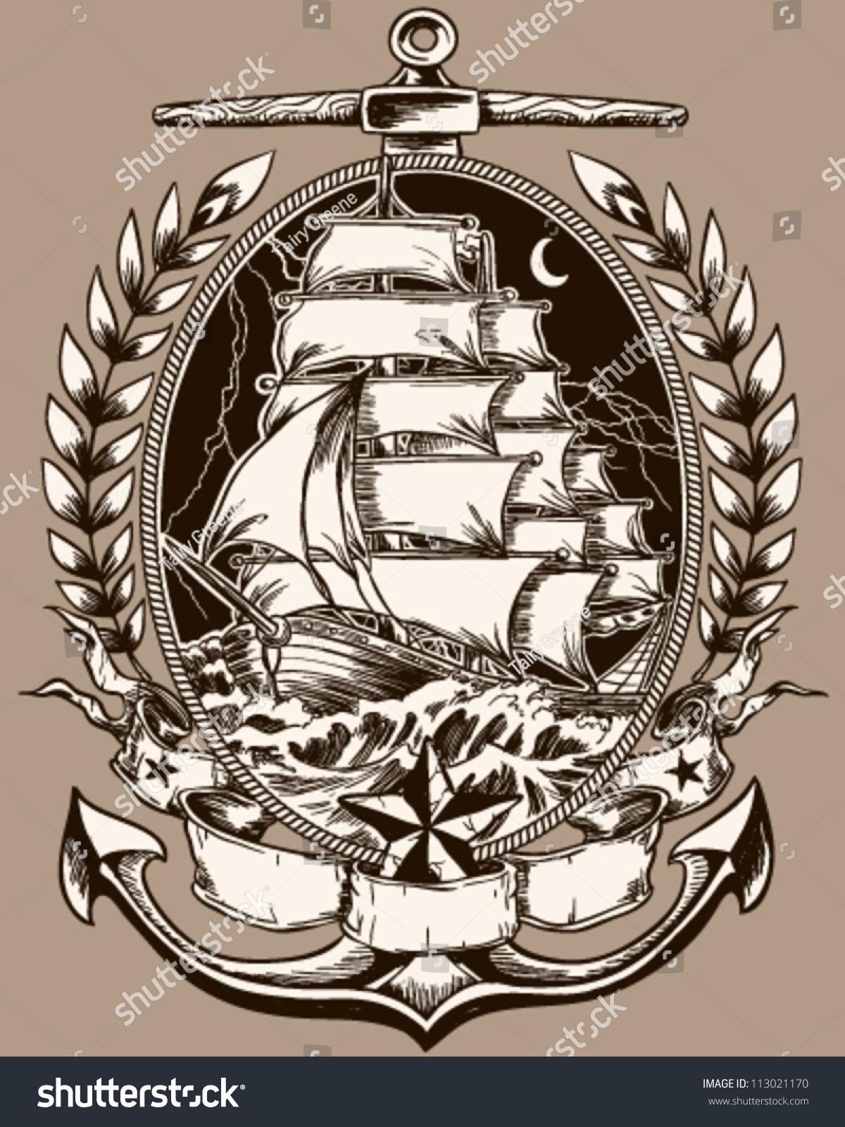 Image Vectorielle De Stock De Bateau Pirate De Style Tatouage En 113021170