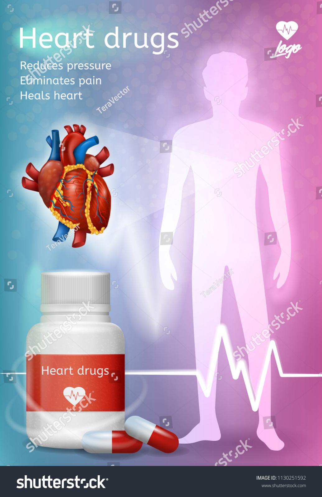 Heart Drugs Advertising Vector Poster Flyer Stock Vector 1130251592 ...