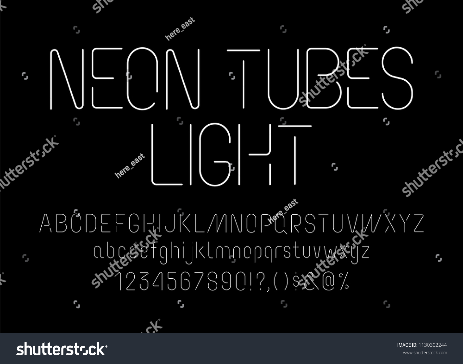 Neon Tube Font Uppercase Lowercase Typography Stock Vector