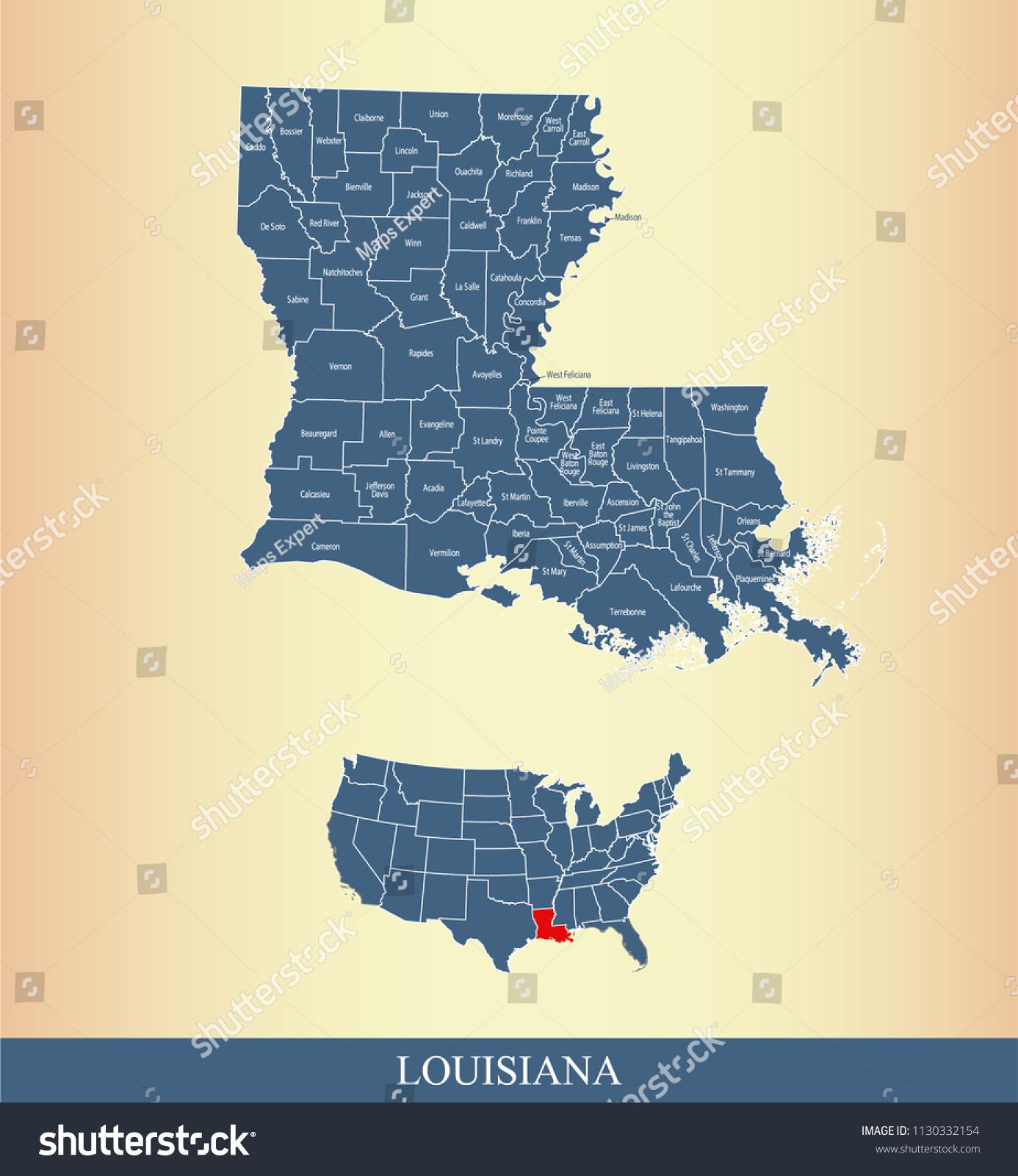 Louisiana County Map Vector Outline Counties Stock Vector (Royalty ...