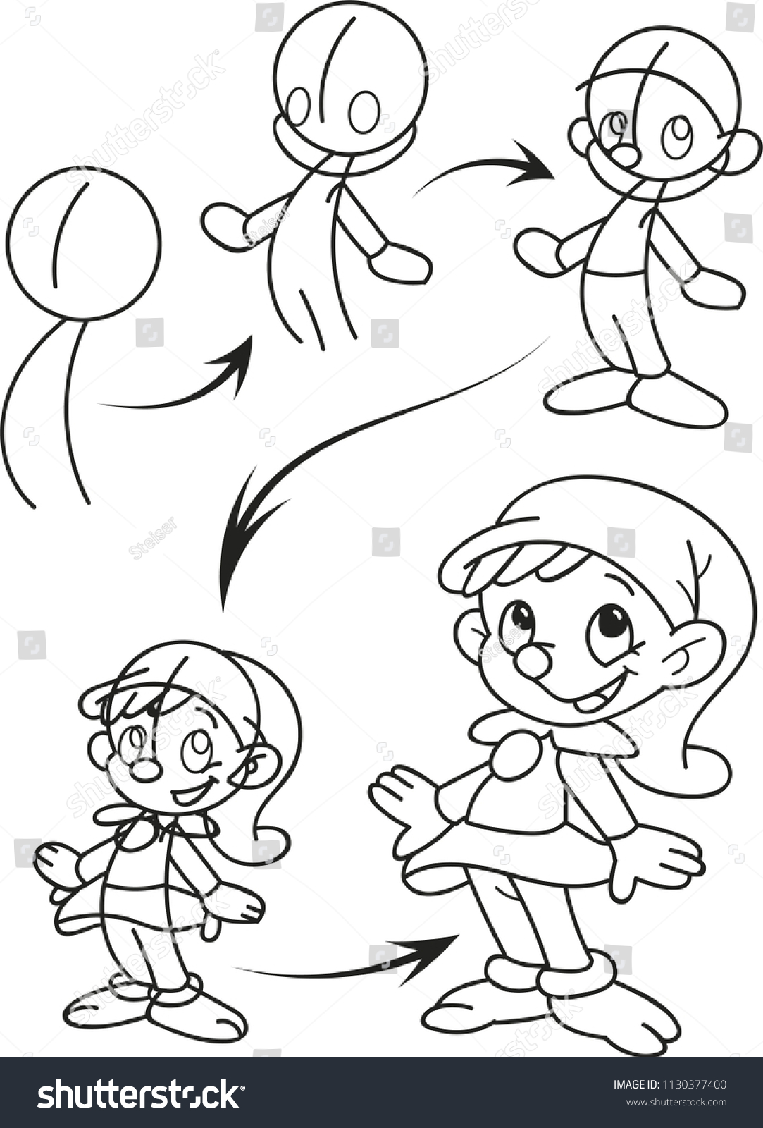 drawing tutorial for children page shows how to learn step by step to draw christmas - How To Draw A Christmas Elf