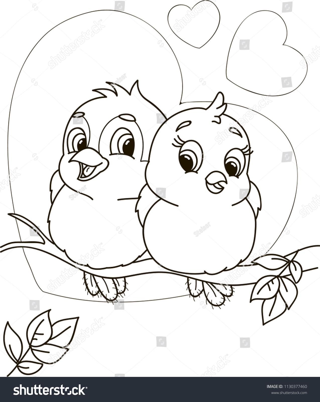 Coloring Page Outline Cartoon Cute Birds Stock Vector Royalty Free