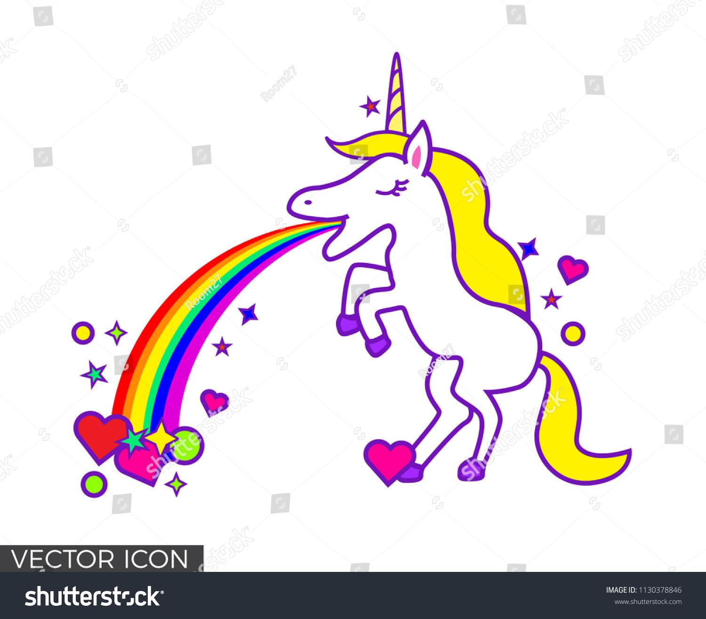 unicorn throwing rainbow shapes stock vector 1130378846 shutterstock