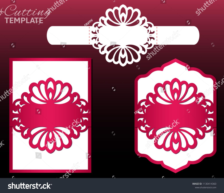 Laser Cut Wedding Invitation Card Template Stock Vector (Royalty ...
