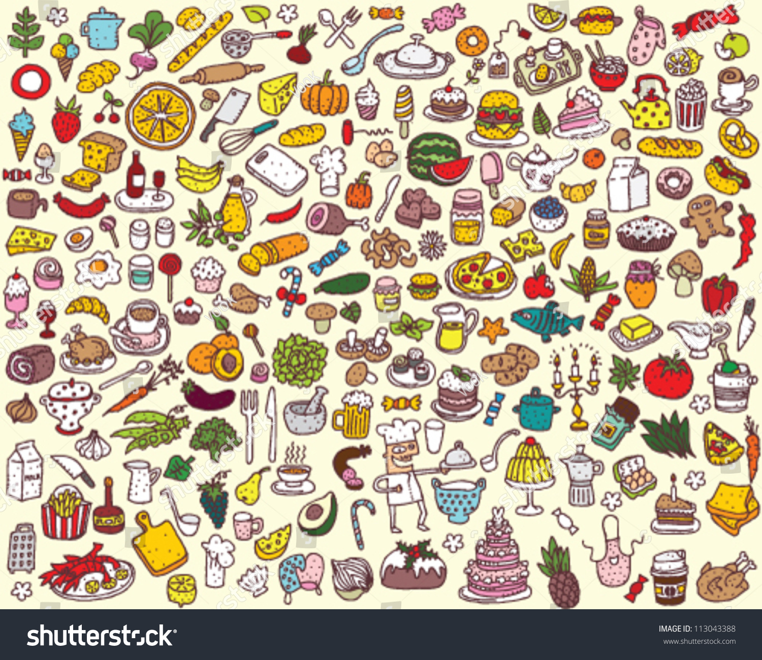 big food kitchen collection stock vector 113043388 shutterstock big food and kitchen collection