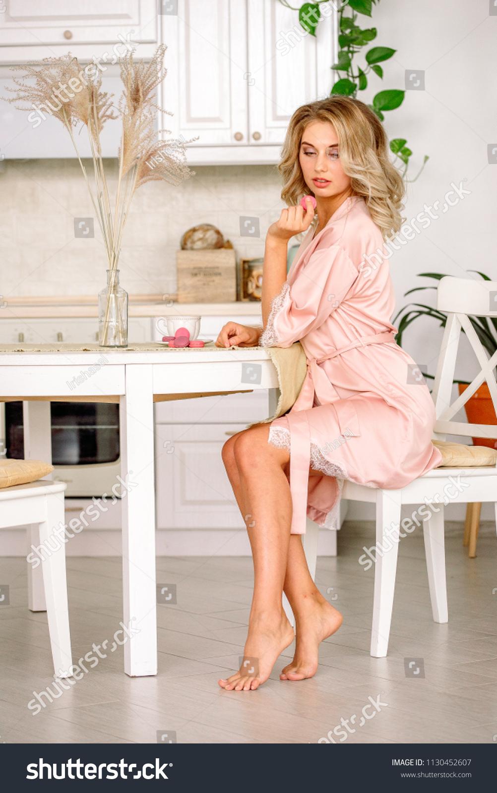 df06c47845b Close Blonde Bride Drinking Morning Tea Stock Photo (Edit Now ...